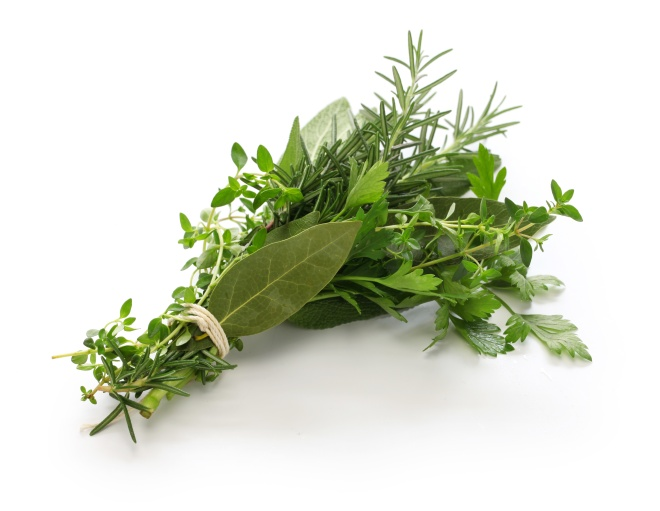 fresh bouquet garni, bunch of herbs isolated on white background