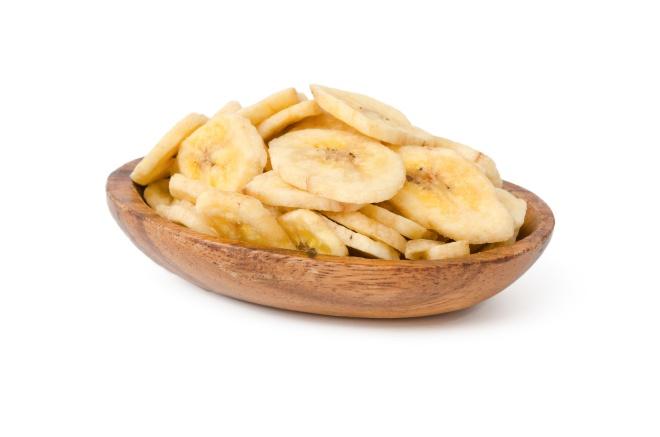 Trockenobst, Bananen getrocknet, Holzschälchen